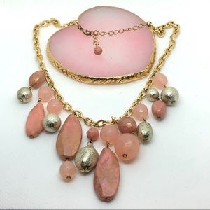 Vintage Pink Gold Statement Fall Necklace